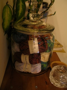 jar of sock yarn