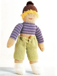 boy doll from zoe mellor's knitted toys