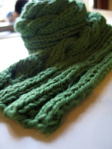 green cabled scarf